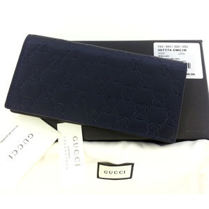 Gucci Guccissima Men Blue Long Wallet w/ID Window